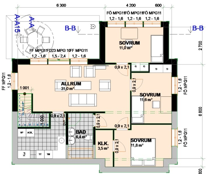 Planlösning Bottenvåning Villa Varm