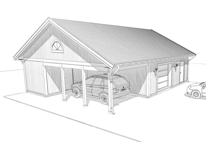 Ritning på garage med carport