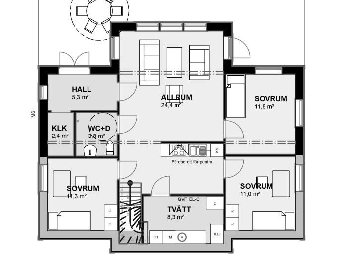 Planlösning Bottenvåning Villa Rosendal