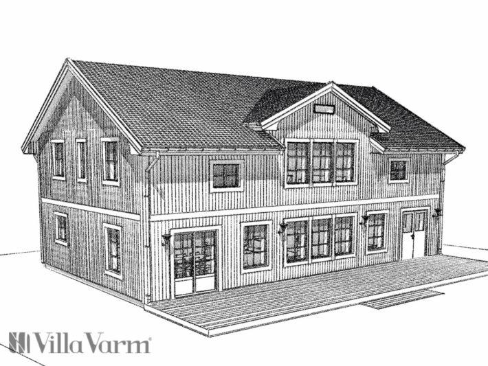 Lantligt hus i två plan